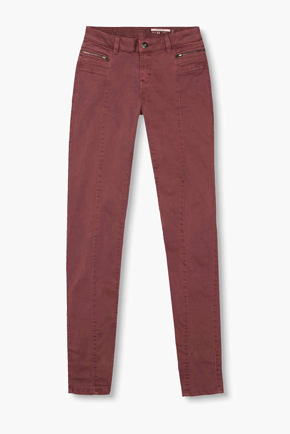 Slim-fitting, stretchy cotton trousers with decorative seams and zip pockets