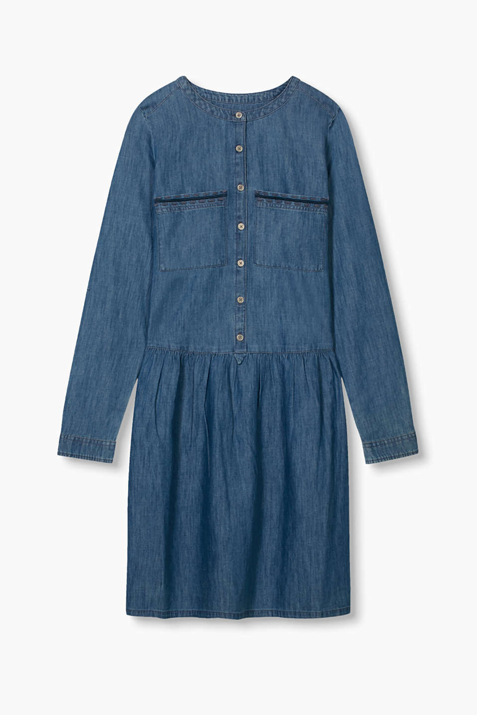 Fashionable denim dress with embroidered pockets and a slightly flared skirt section.