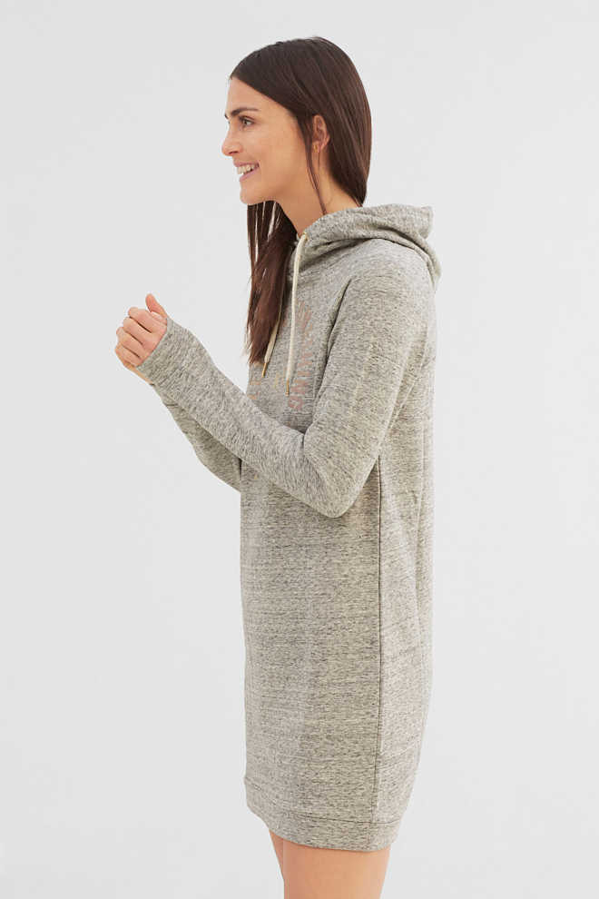 EDC / Sweat hoodie dress with shiny print