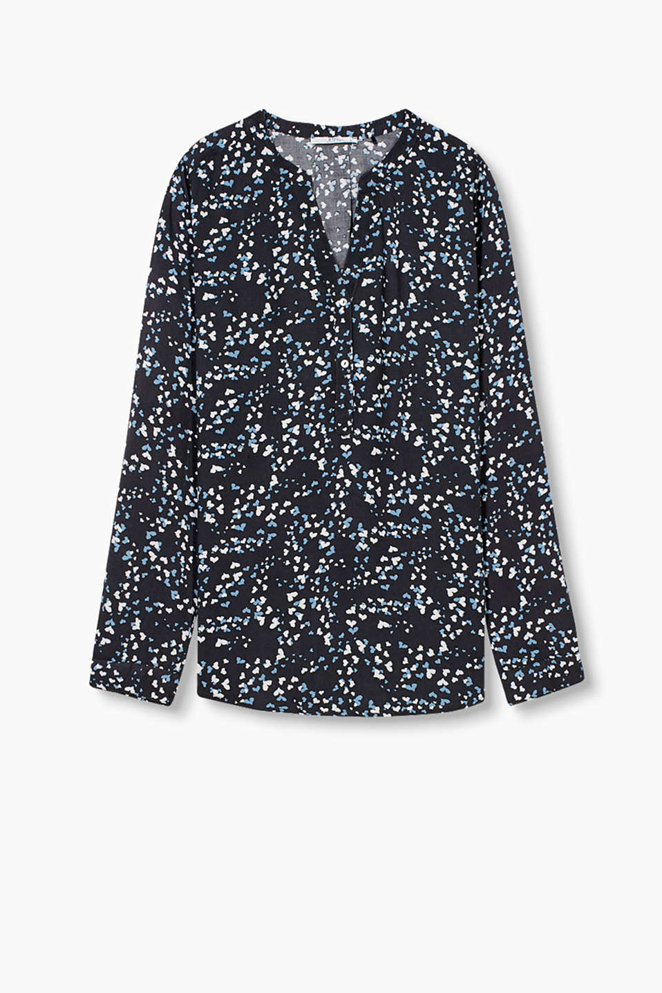 Softly draped blouse with a mother-of-pearl button placket and a stylised bird print