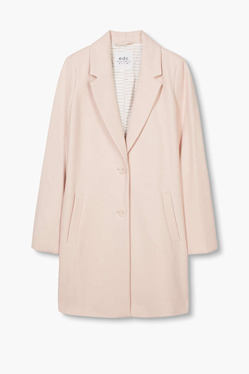 Fashionable two-button blazer coat in a cotton blend with a two-tone texture