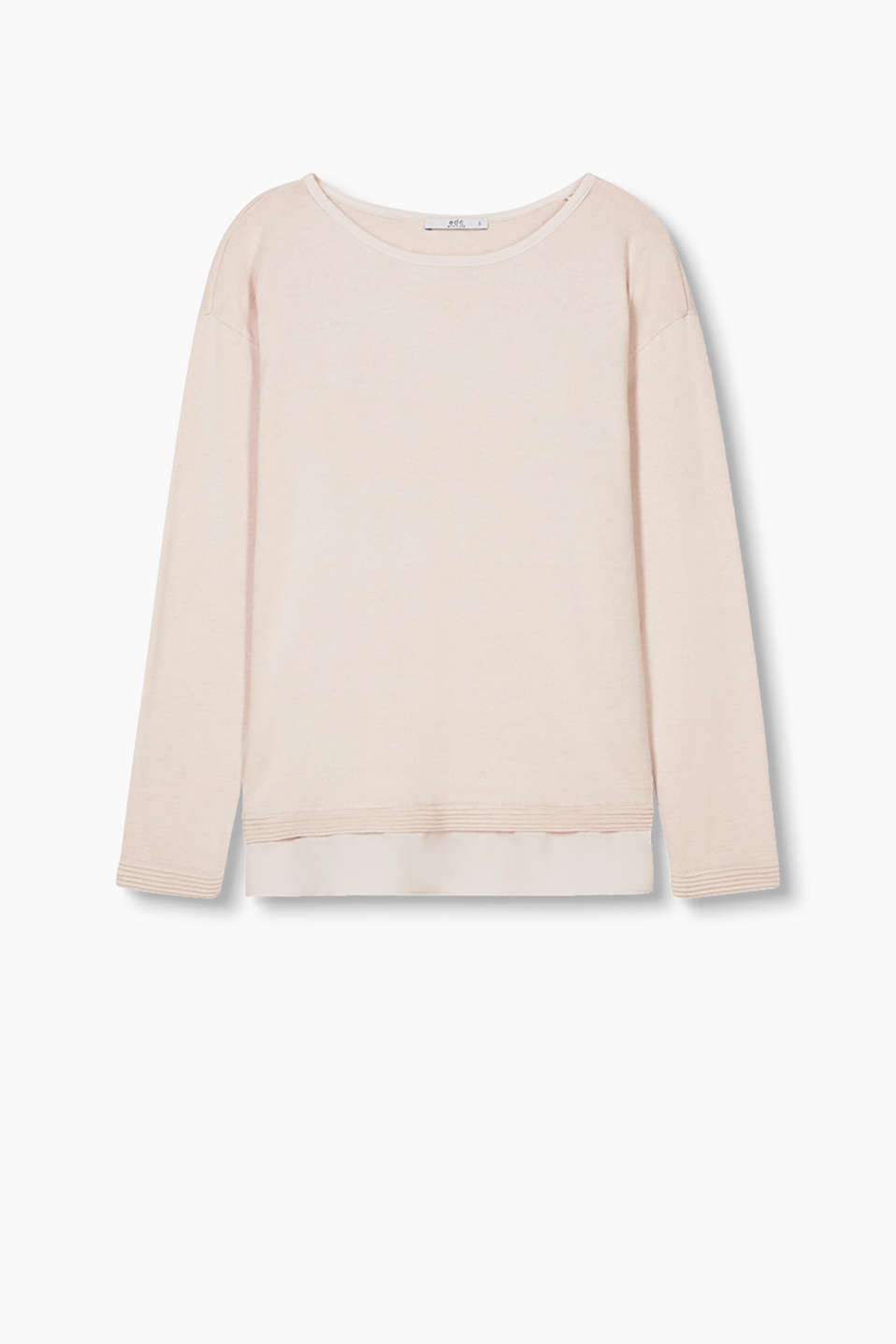 In a layered style: melange jumper with a fabric hem in crêpe