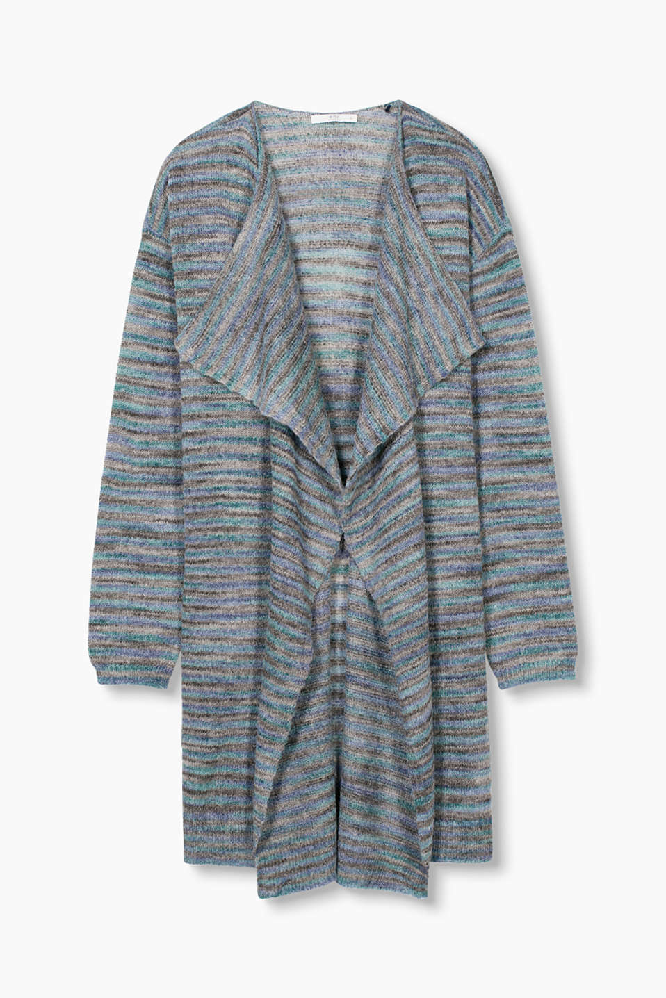 in a lightweight knit with stripes in a space-dyed look