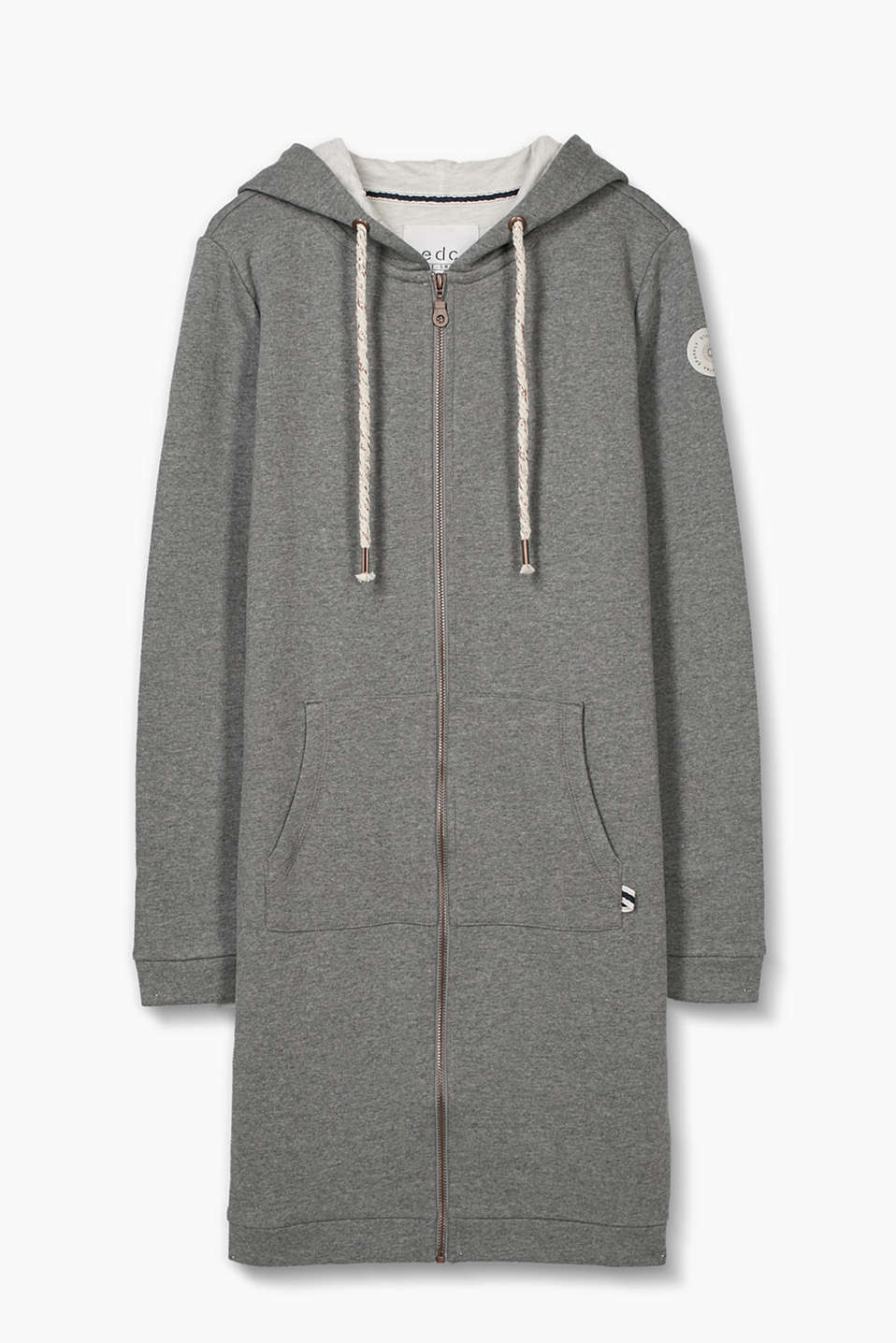 A comfy style for relaxed looks: long, melange zip-up sweatshirt in blended cotton