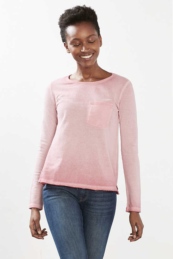 EDC / Piqué long sleeve top, 100% cotton