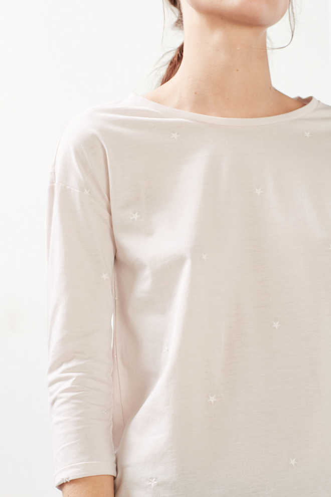 EDC / Melange top with star embroidery