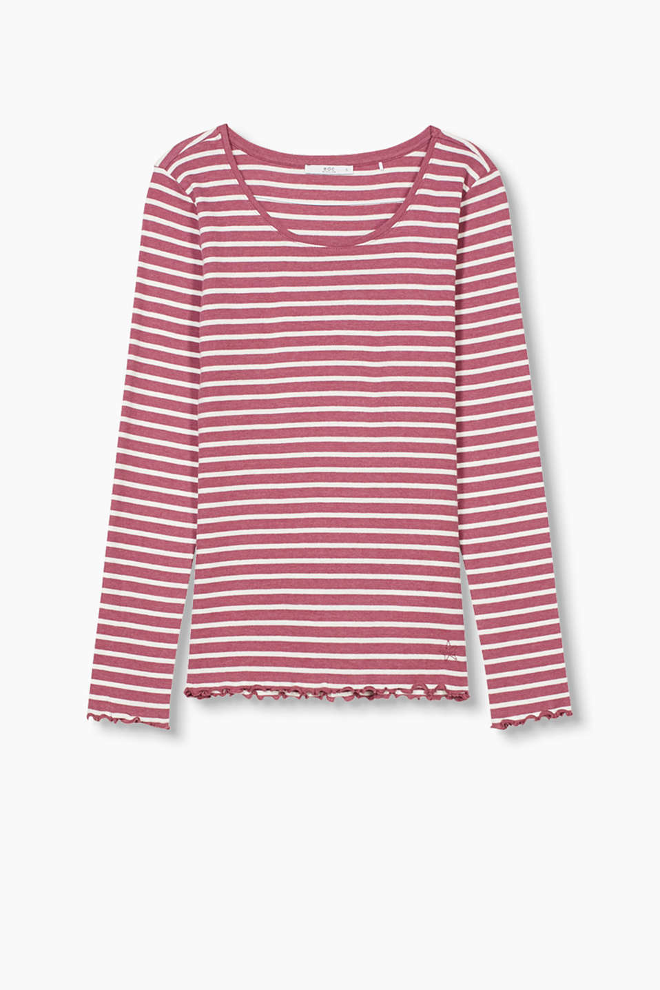 Striped long sleeve top in ribbed jersey with feminine, frilled edges