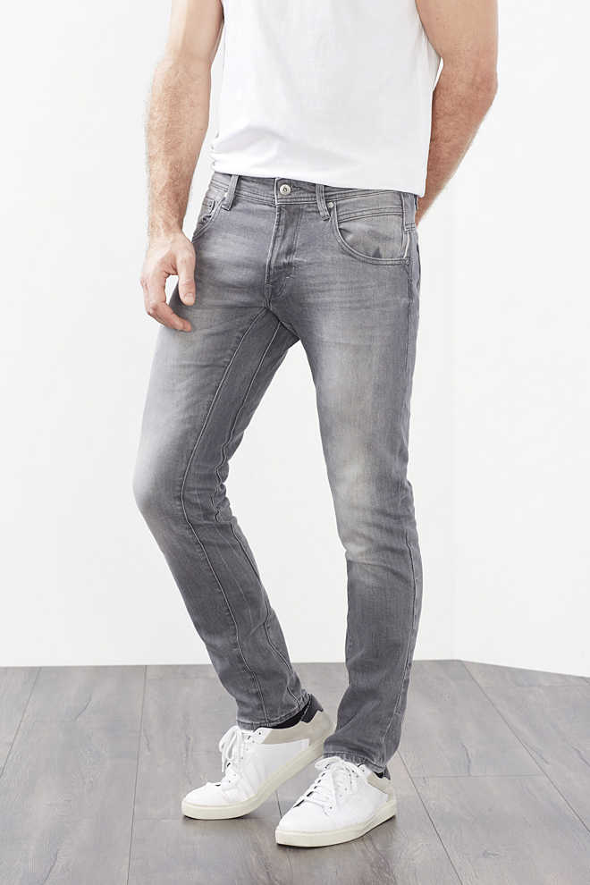 EDC / Graue 5-Pocket Stretch-Jeans