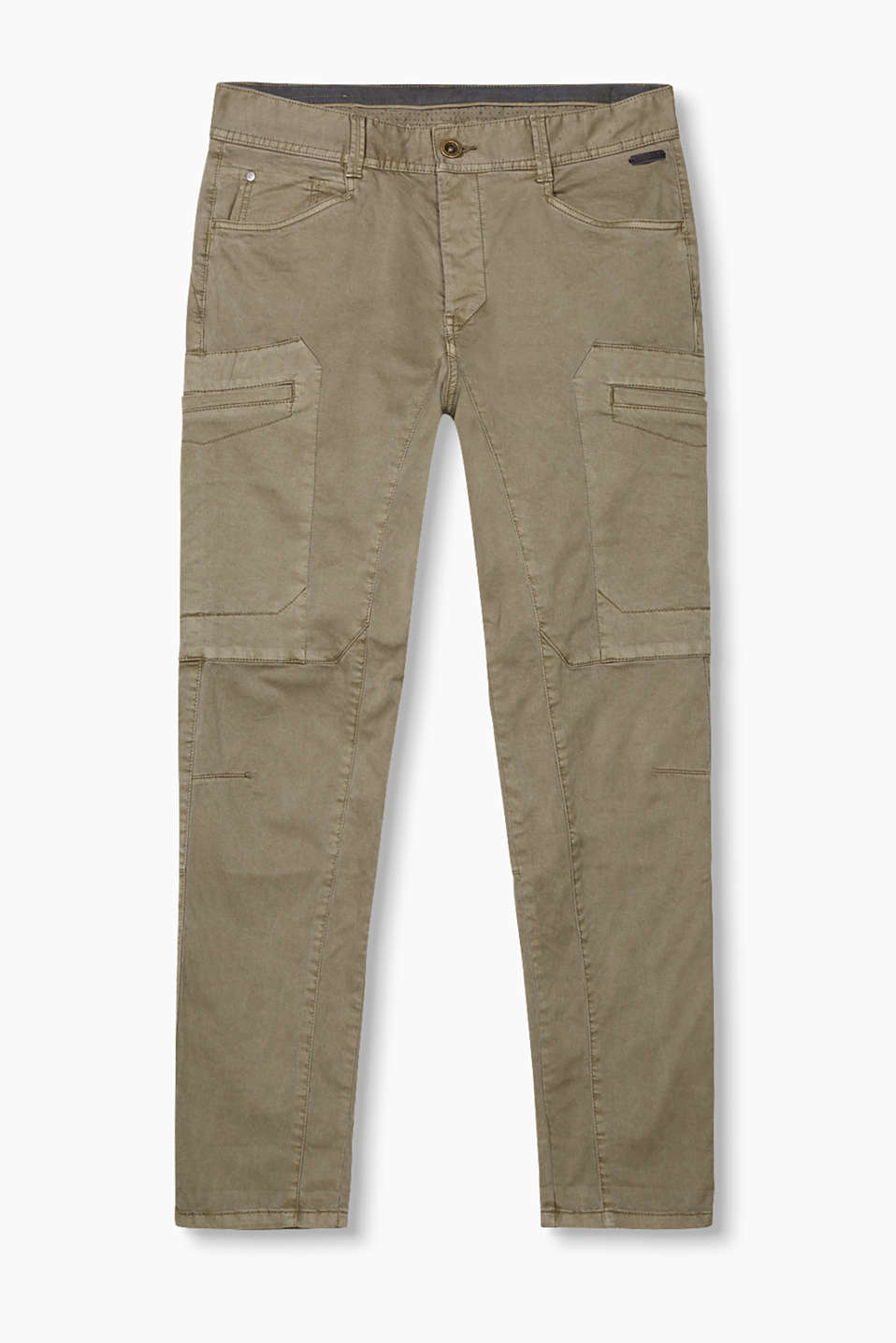 Casual cargo-style trousers in garment washed cotton with added stretch for comfort