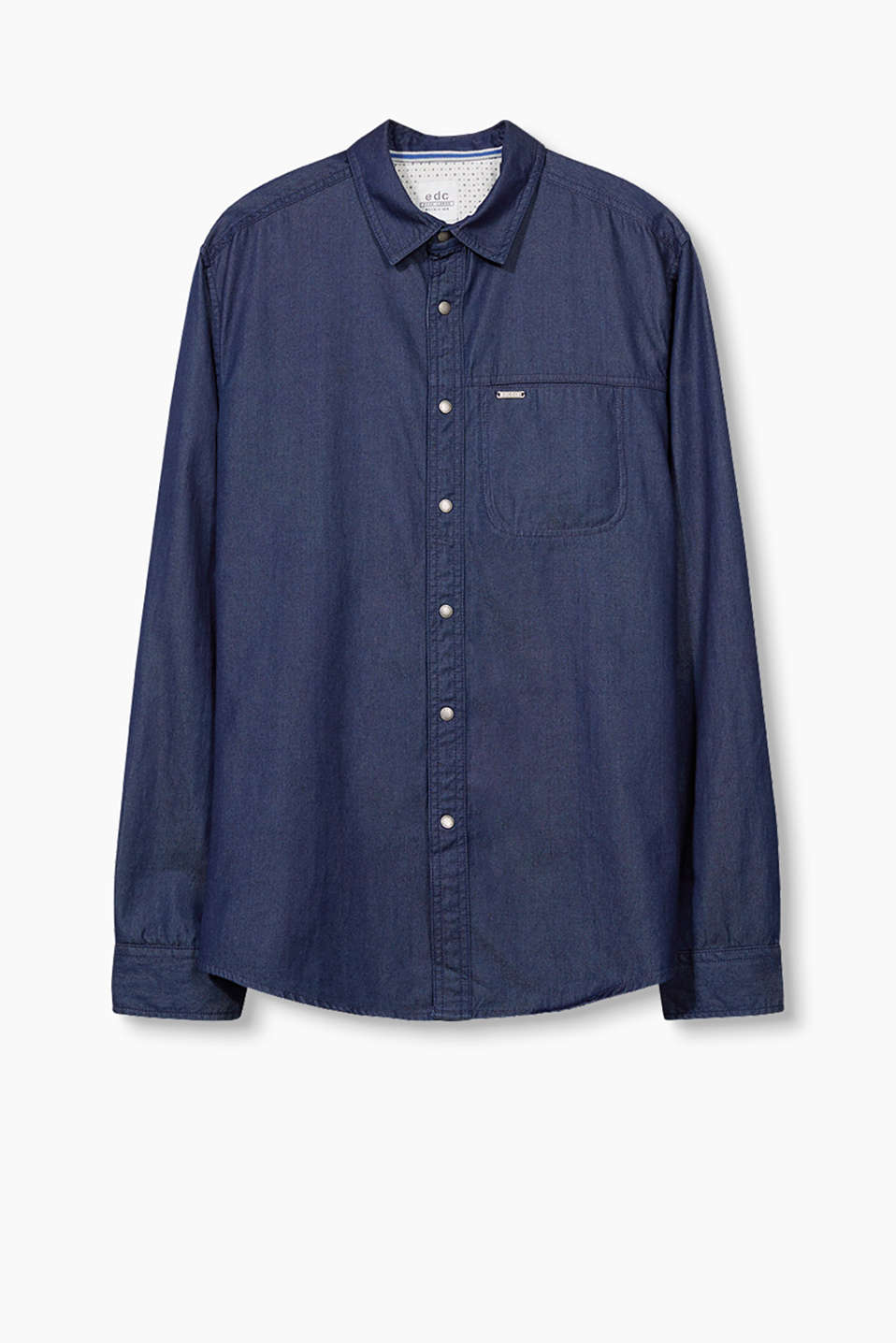 Cotton denim shirt with logo press studs