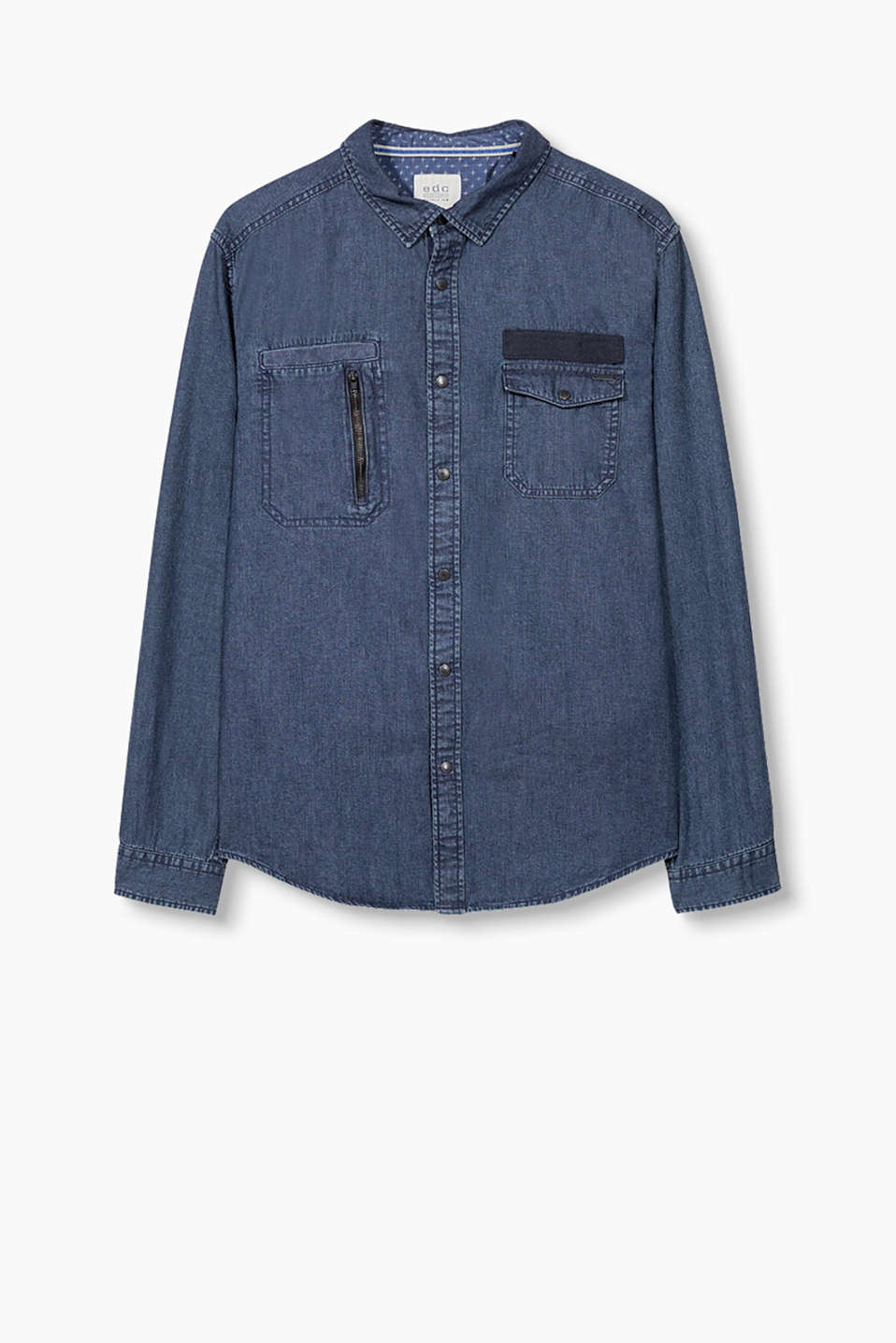 Casual shirt in cotton denim with logo press studs and a new pocket design