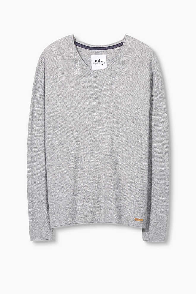 EDC / Textured V-neck jumper, pure cotton