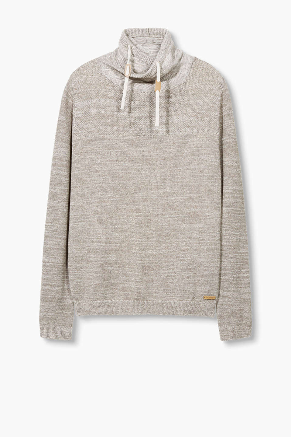 Melange jumper with a textured mix and layered drawstring polo neck
