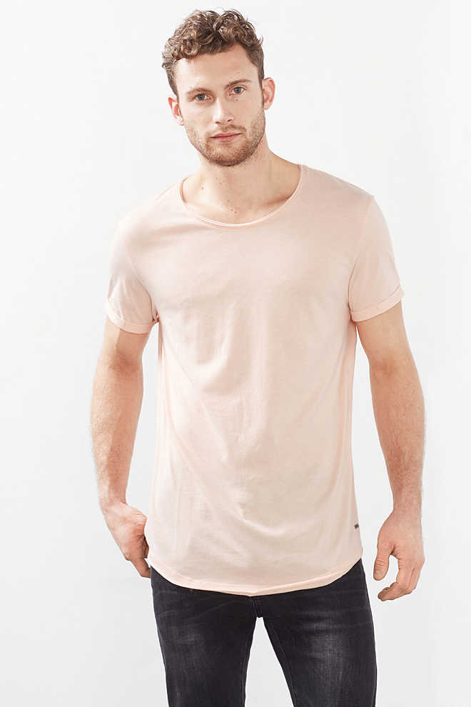 EDC / T-shirt long basique, jersey de coton