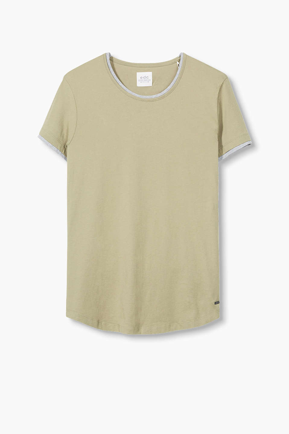 Mit angesagtem Long-Cut: Rundhals T-Shirt mit Layer-Details.