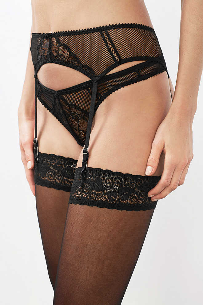 EDC / Suspender belt in mesh and lace