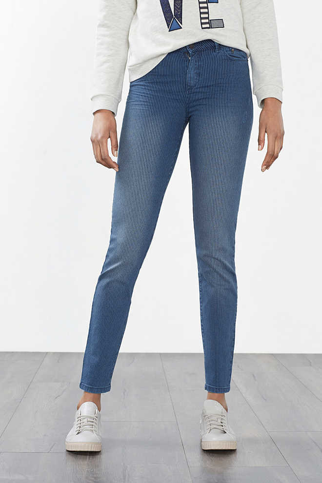 Esprit / Gestreepte stretchbroek in denim look