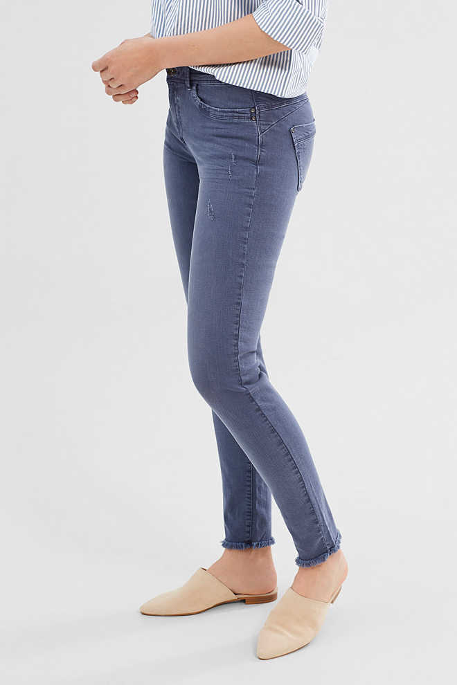 Esprit / Modieuze stretchjeans met used look
