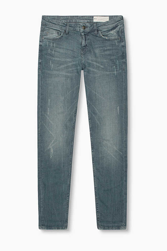 Esprit / Schmale Stretch-Denim mit Used-Effekten