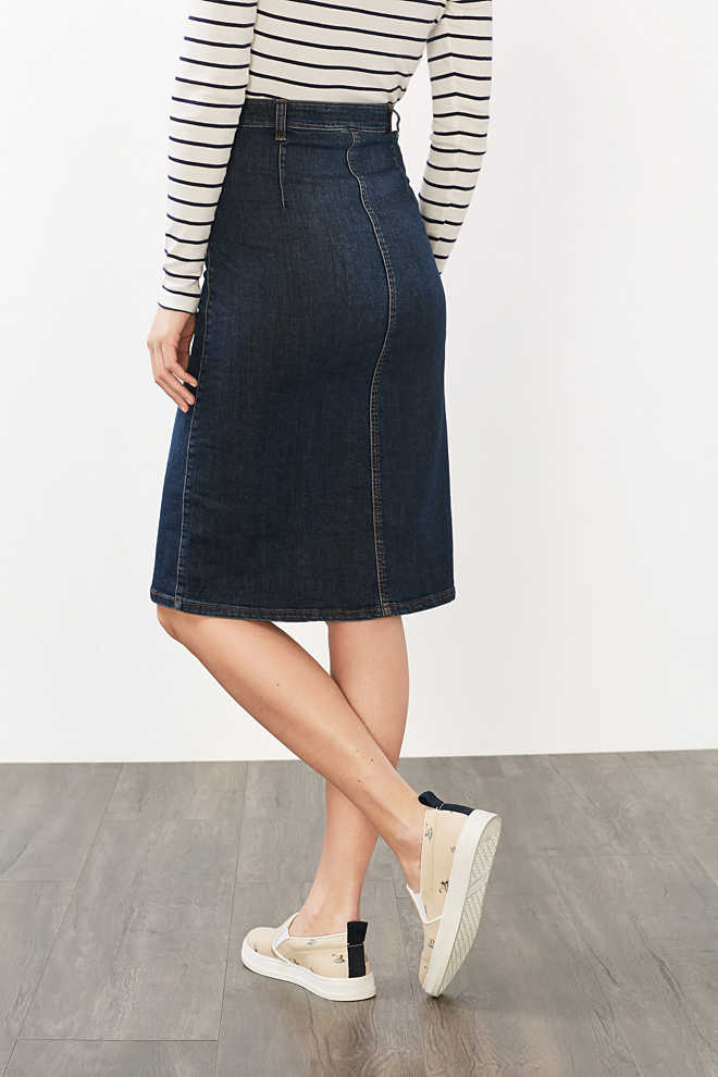 Esprit / Stretch denim skirt with full length placket