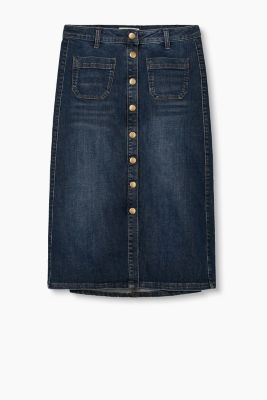 Stretch denim skirt with full length placket