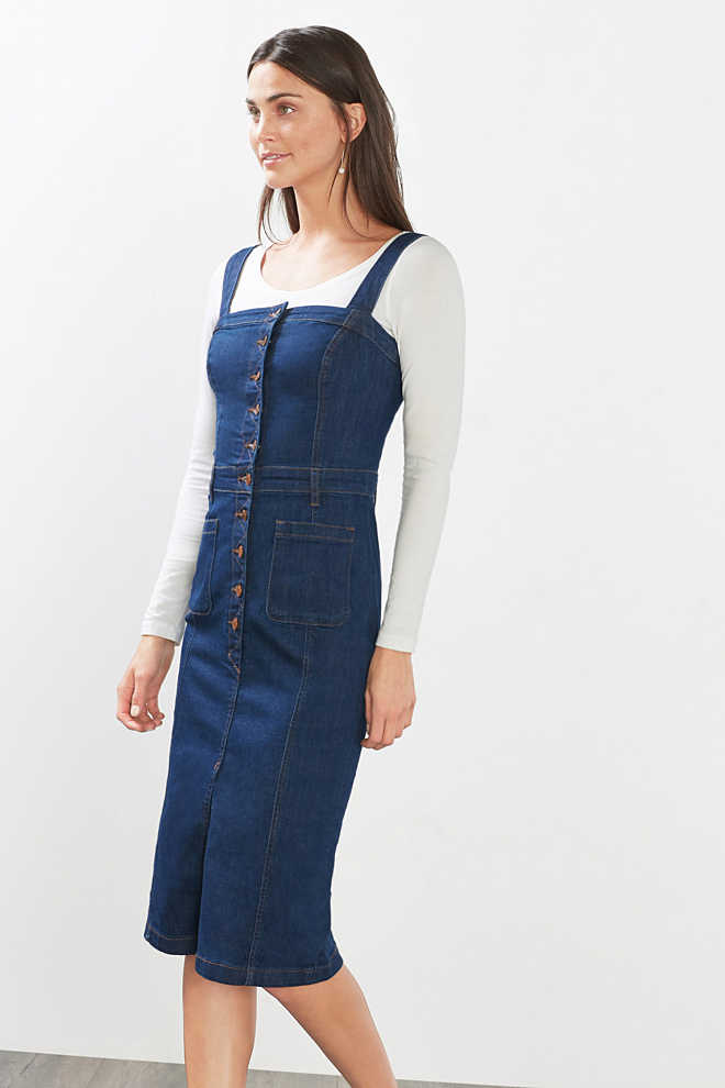 Esprit / Robe bustier en denim stretch
