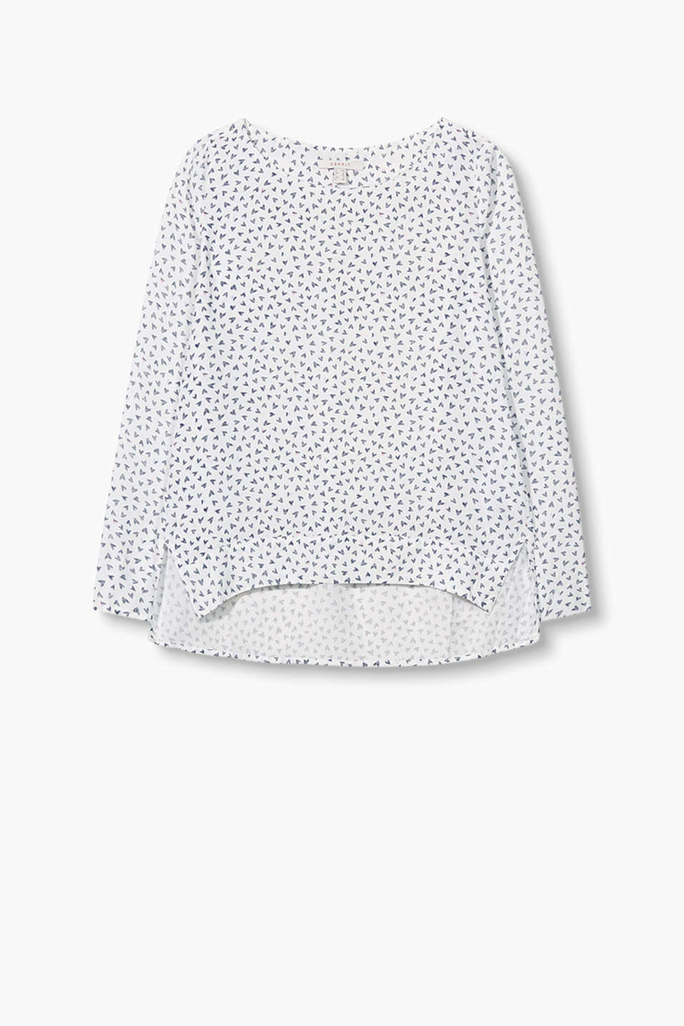 with a heart print and a high-low hem
