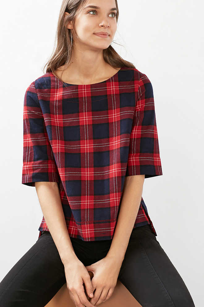 Esprit / Boxy flannel blouse, 100% cotton