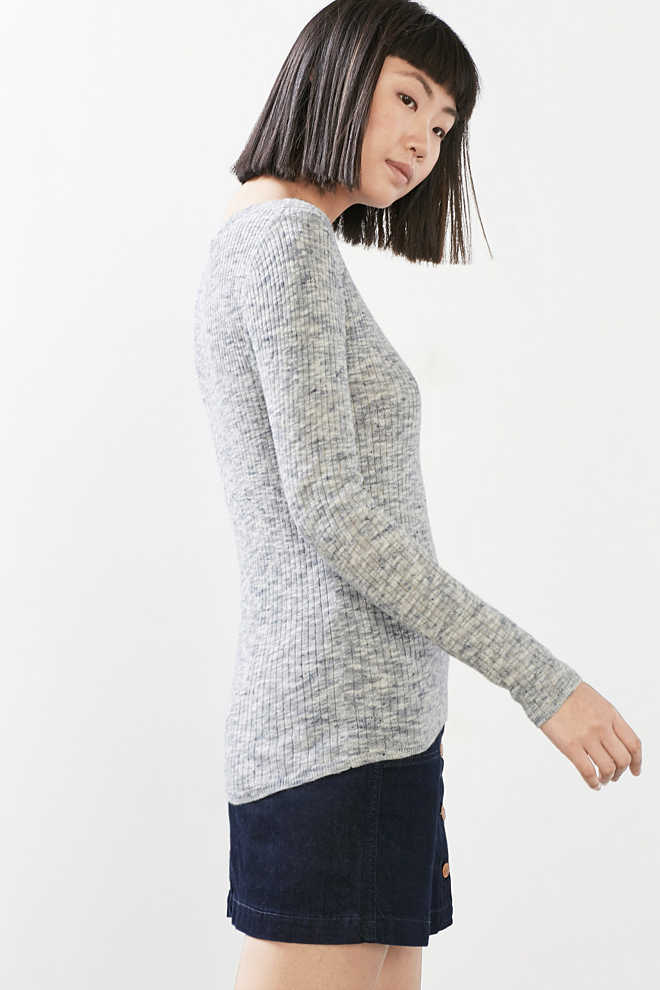Esprit / Melange ribbed jumper in blended linen