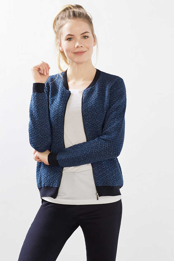 Esprit / Knitted bomber jacket, cotton blend