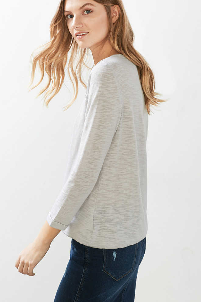 Esprit / Long sleeve blended cotton top with lace