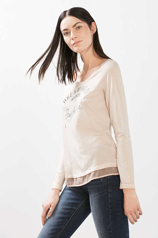 Esprit / Washed long sleeve top with a fabric hem