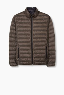Lightweight down/feather reversible jacket