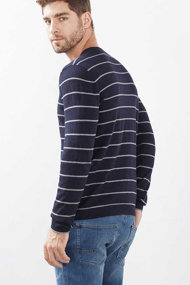 Esprit / Striped sweater in a cotton/cashmere blend