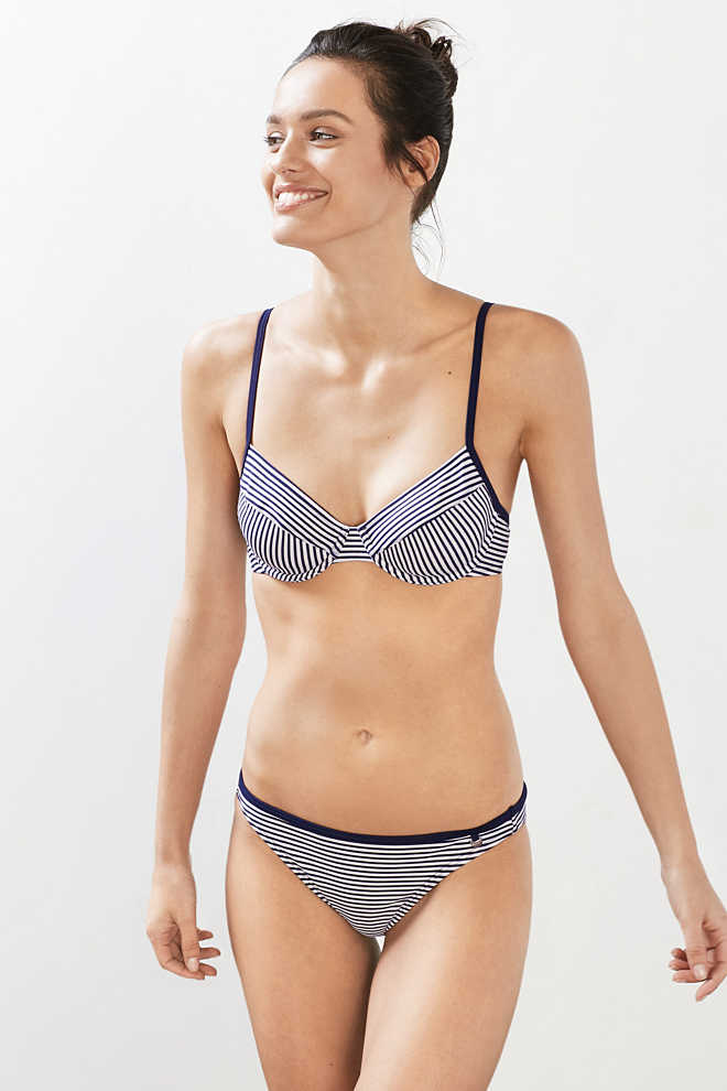 Esprit / Unpadded underwire top in a nautical look