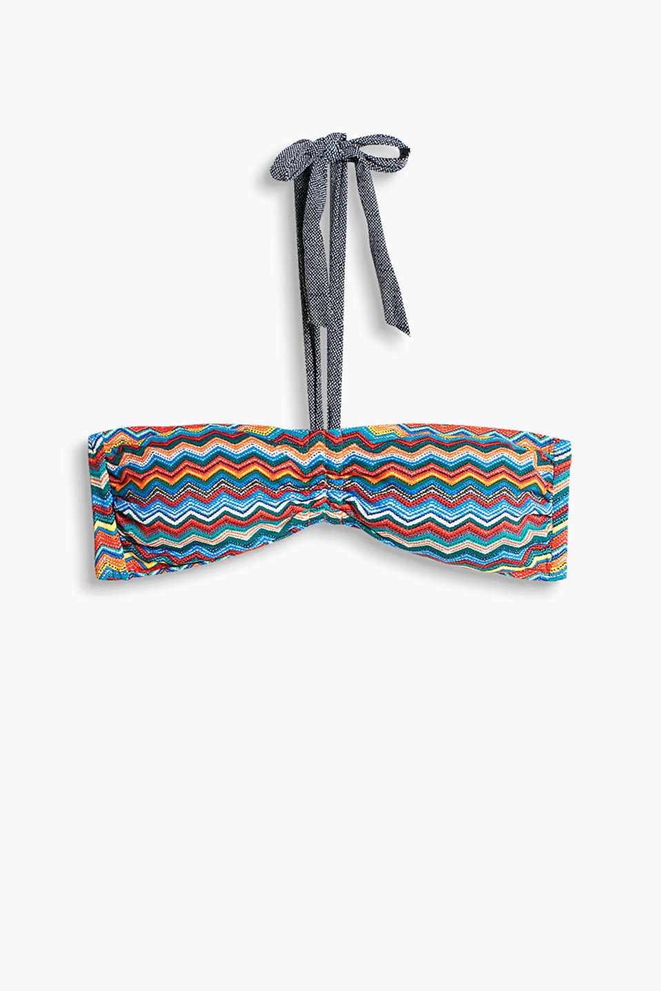 Collection: WESTERN BEACH - padded bandeau top with a colourful zigzag print and denim-effect details