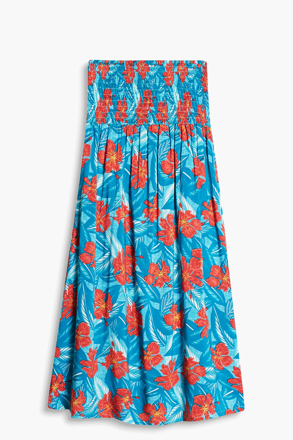 Collection: ZUMA - flowing bandeau dress with a colourful hibiscus print