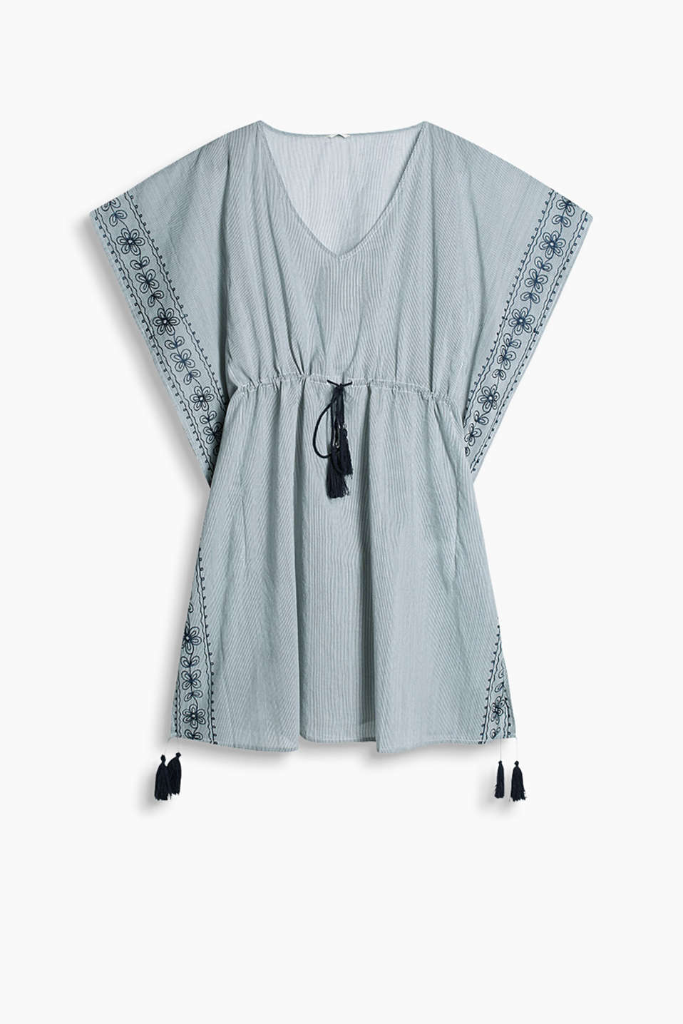Collection: JUPITER BEACH - fine striped cotton tunic with floral embroidery