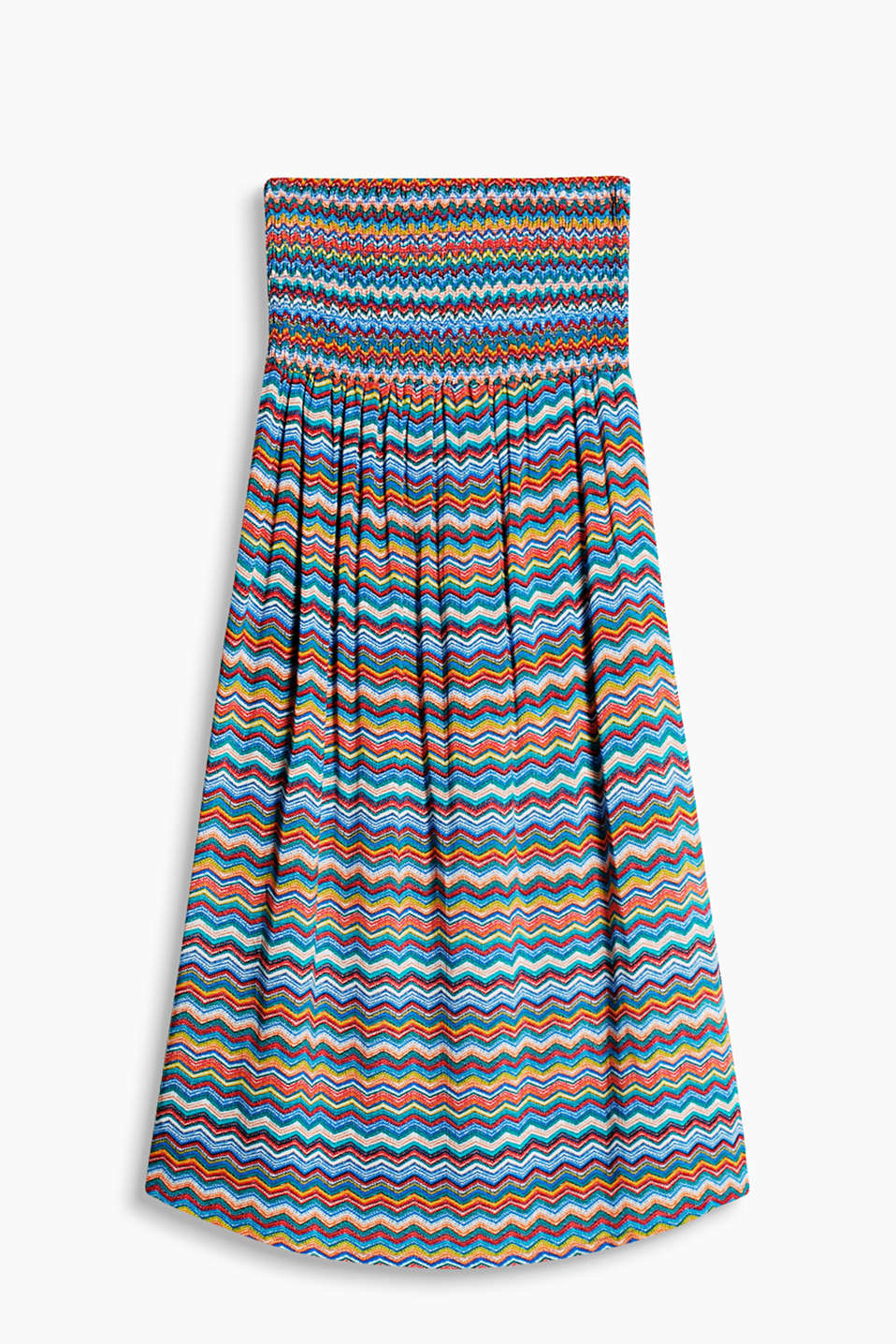 Collection: WESTERN BEACH - flowing bandeau dress with a colourful zigzag print