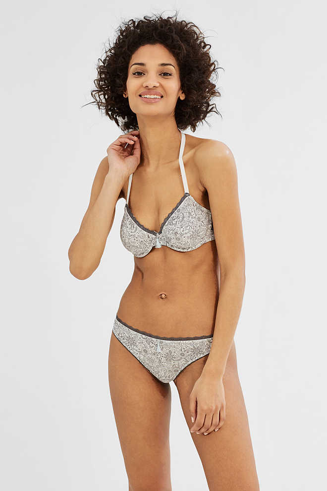 Esprit / Hipster thong with print and lace
