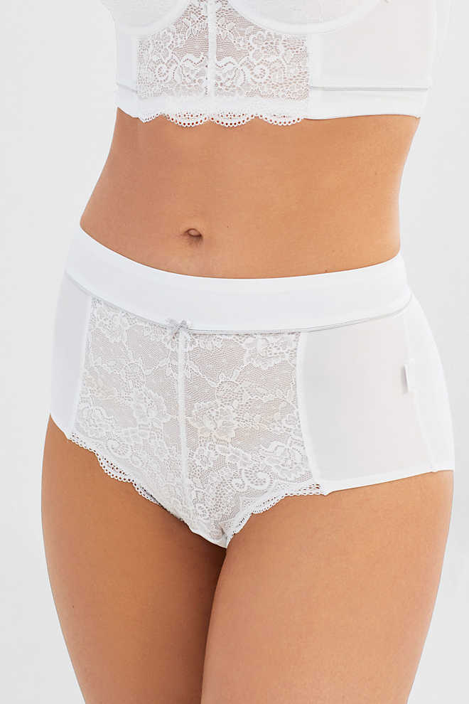 Esprit / High-waisted briefs in microfibre/lace