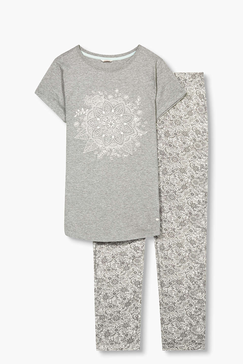 Pyjama set with a print top and all-over print bottoms, in jersey