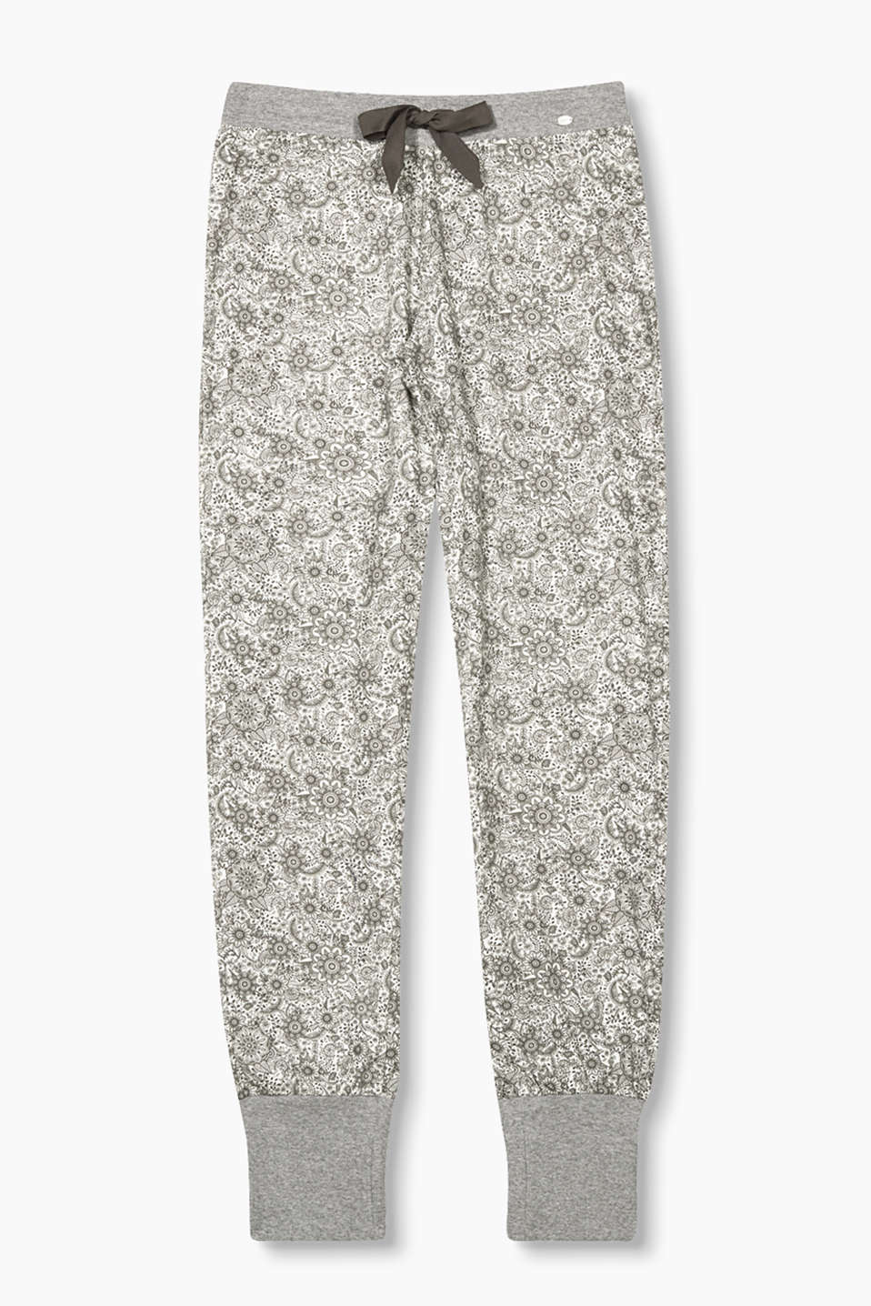 Comfort wear: soft pyjama bottoms with an all-over floral print, in pure cotton