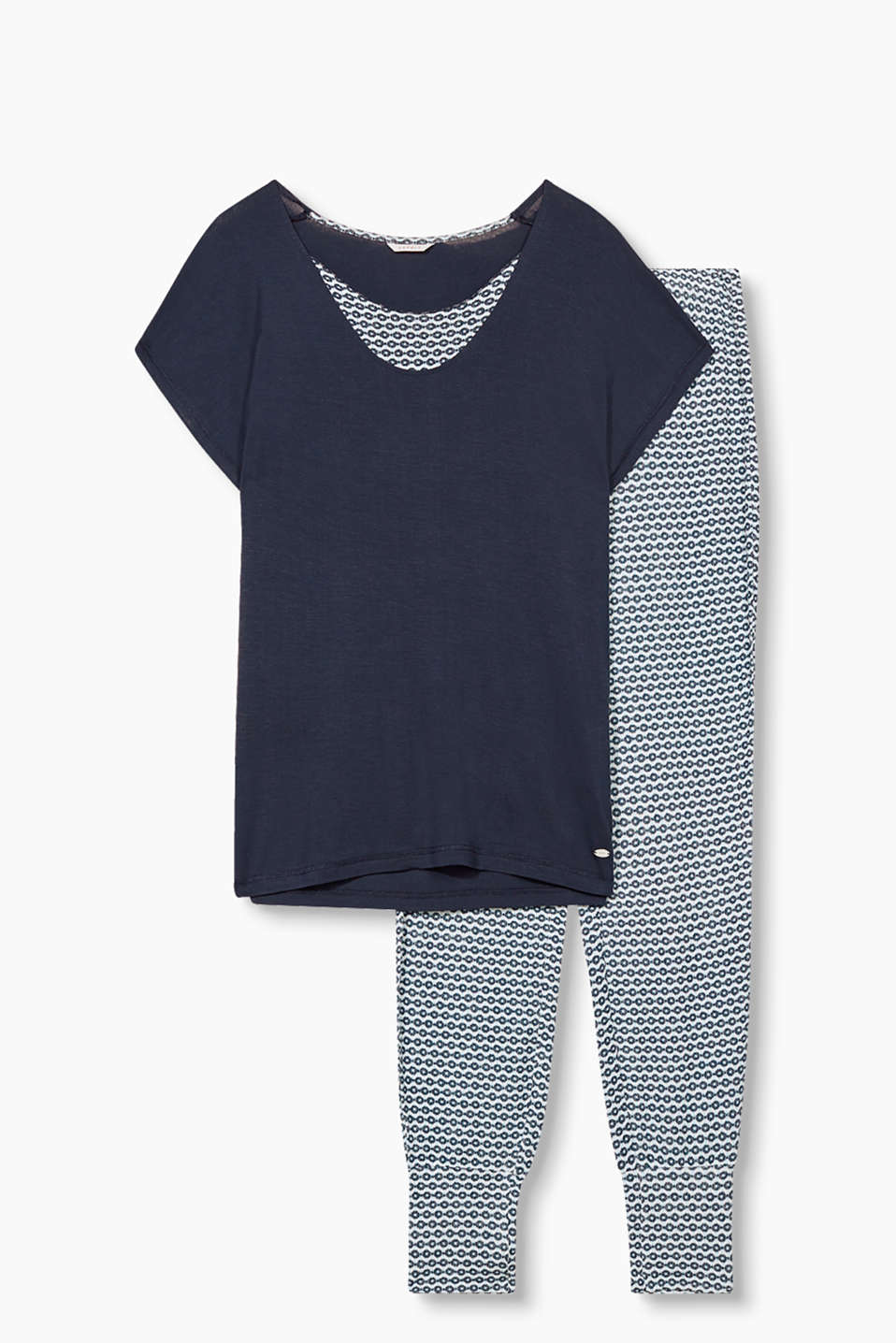 Pyjama set with a plain top and bottoms with an all-over print, in jersey