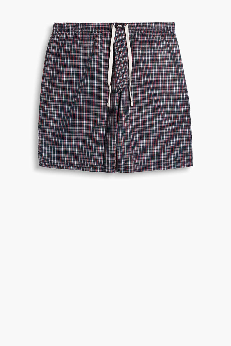 With a fashionable woven check pattern and an elasticated logo waistband