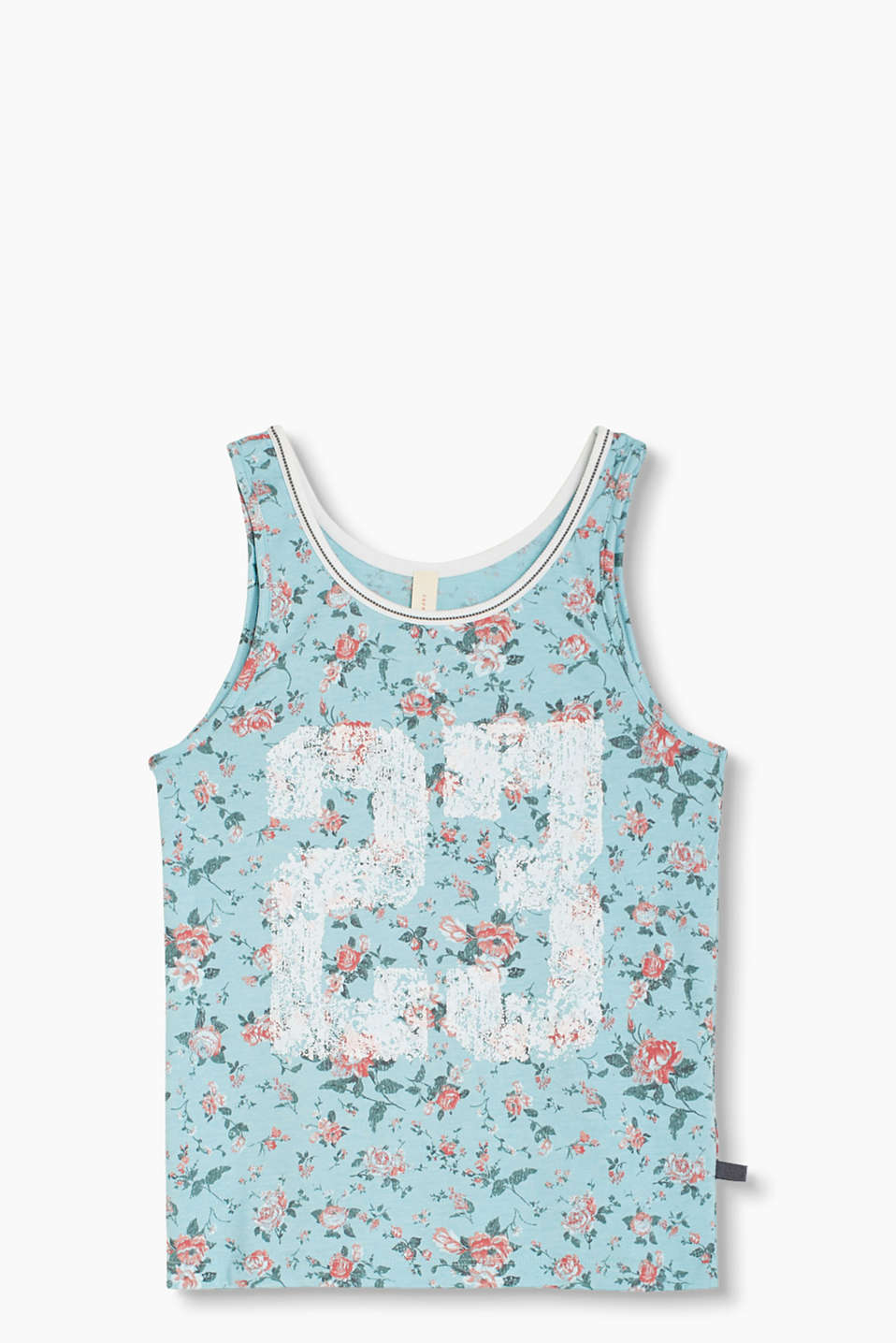 This vest is romantic and sporty all at once with its number print and vintage-style roses on soft jersey
