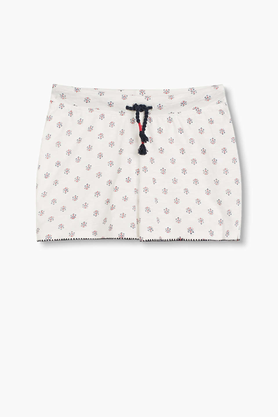 Slub jersey shorts with a pretty intarsia print, an elasticated waistband and drawstring ties.