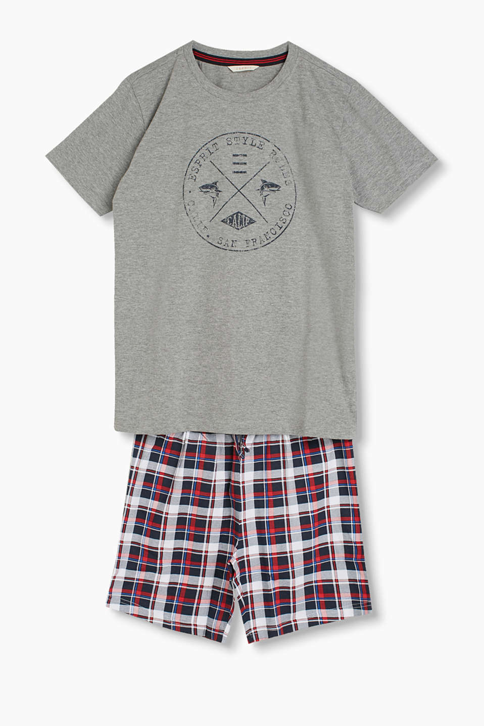 Pyjama set made of 100% cotton with a printed T-shirt and check shorts