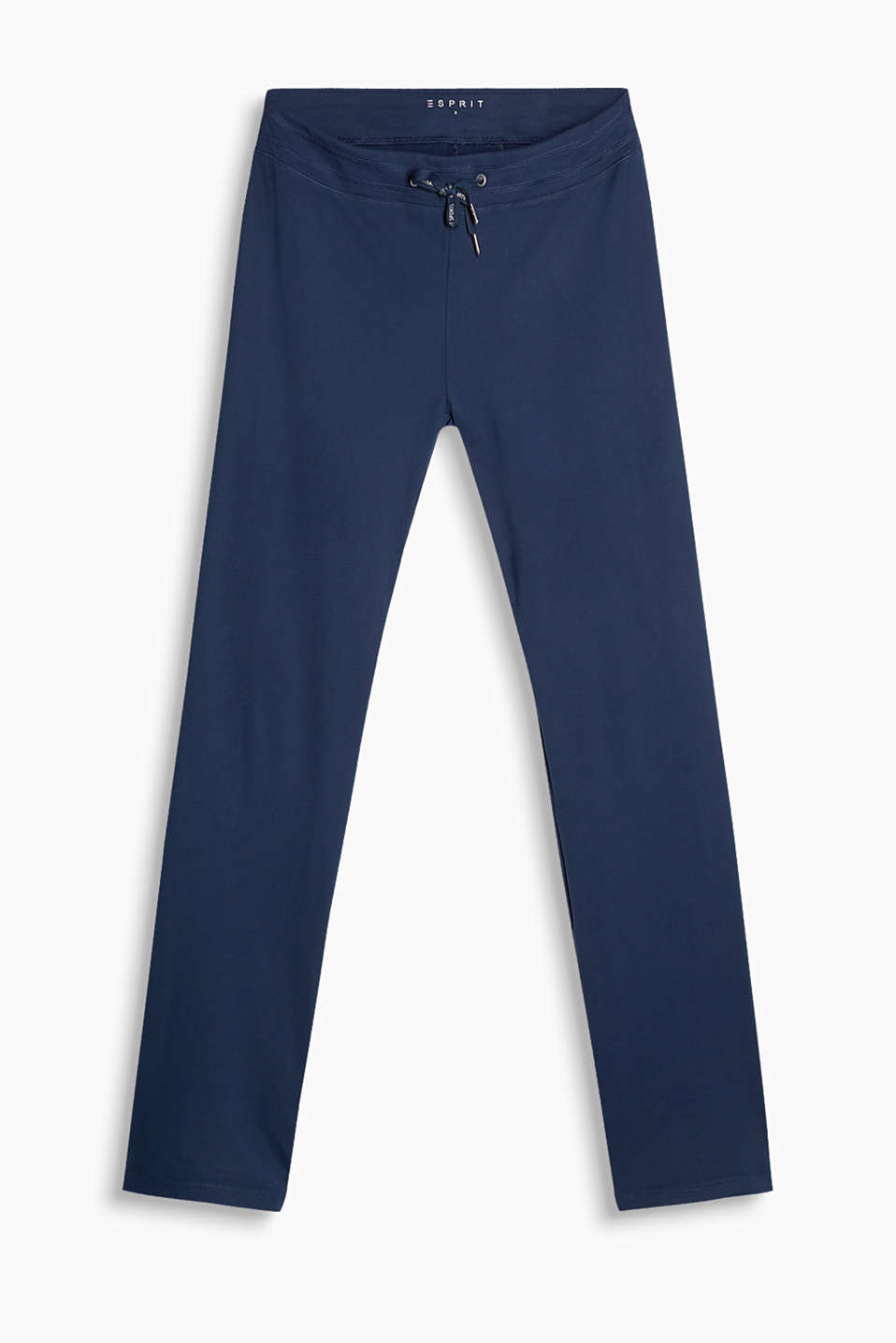 Activewear trousers with elasticated waistband and a straight leg made of high-performance jersey, E-DRY