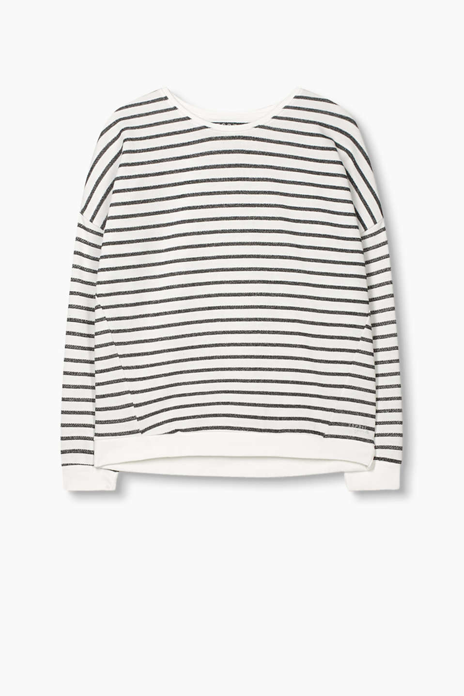 Striped T-shirt with dropped shoulders in 100% cotton